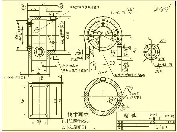 1.轴套类零件   这类零件一般有轴、衬套等零件,在视图表达时,只要画出一个基本视图再加上适当的断面图和尺寸标注,就可以把它的主要形状特征以及局部结构表达出来了。为了便于加工时看图,轴线一般按水平放置进行投影,最好选择轴线为侧垂线的位置。   在标注轴套类零件的尺寸时,常以它的轴线作为径向尺寸基准。由此注出图中所示的14 、11(见A-A断面)等。这样就把设计上的要求和加工时的工艺基准(轴类零件在车床上加工时,两端用顶针顶住轴的中心孔)统一起来了。而长度方向的基准常选用重要的端面、接触面(轴肩)或加工面